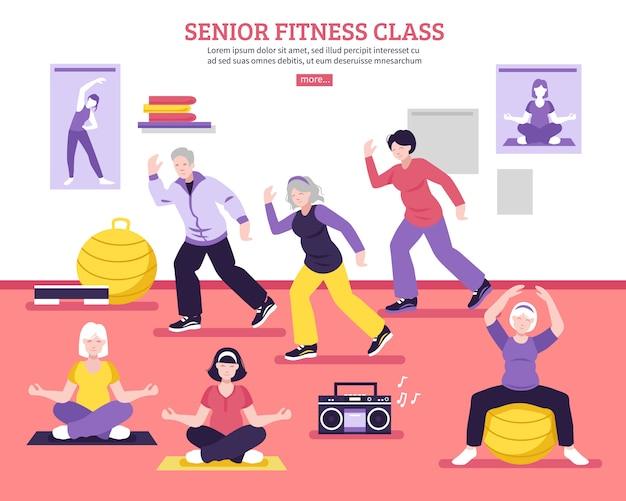 Senior fitness class flat poster Free Vector
