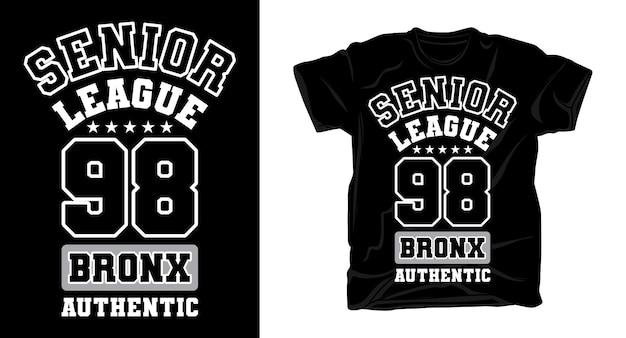 Старшая лига девяносто восемь университетский дизайн типографии для футболки Premium векторы