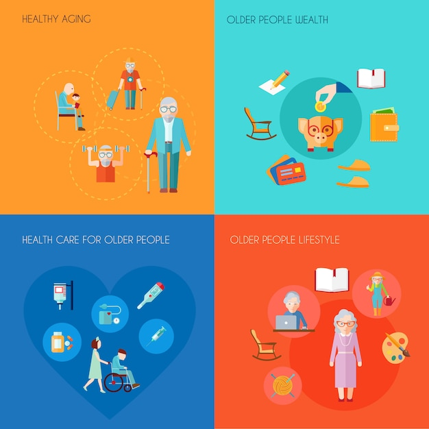Senior lifestyle design concept set with healthy aging older people wealth old people health care flat icons isolated vector illustration Free Vector