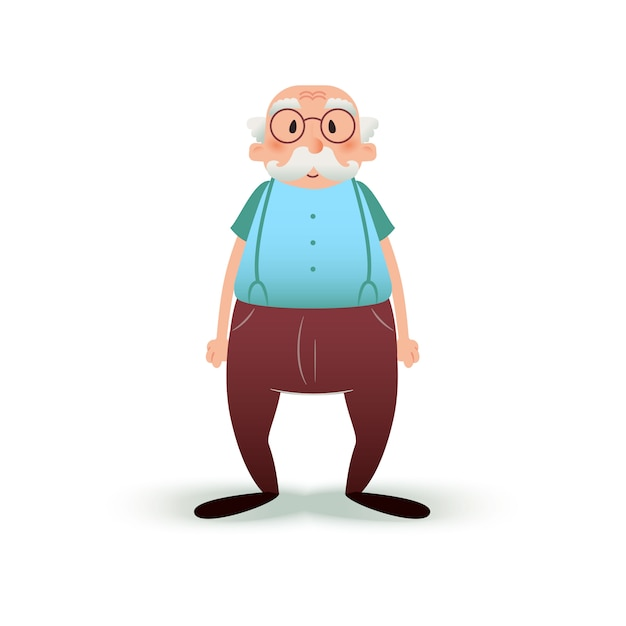 Senior man in glasses and with a mustache Premium Vector