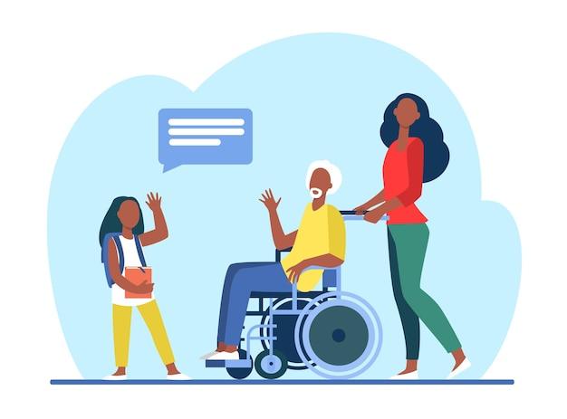 孫娘と車椅子会議の年配の男性。おじいちゃんフラットイラストを訪れる女の子。 無料ベクター