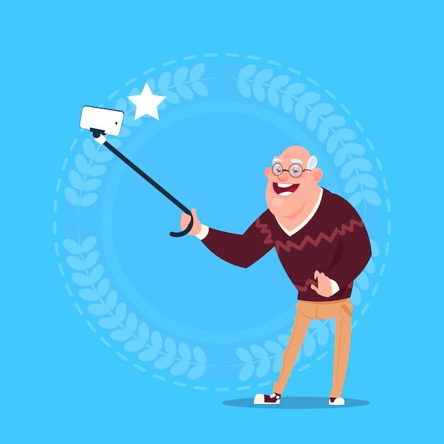 Senior man taking selfie photo with self stick grandfather full length Premium Vector