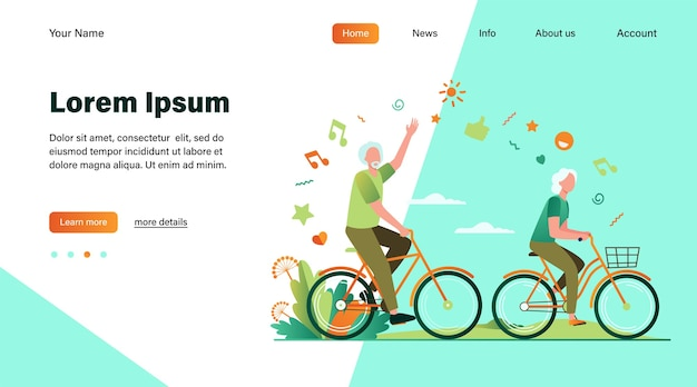Senior man and woman riding bikes in city park. happy cartoon old family couple enjoying outdoor activity. vector illustration for retirement, active lifestyle, age, relationship concept Free Vector