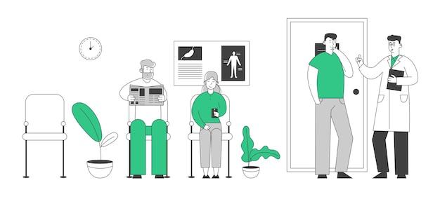 Пациенты пожилого возраста мужчина и женщина, сидящие в поликлинике или больничном зале, прием к врачу для оказания медицинской помощи Premium векторы