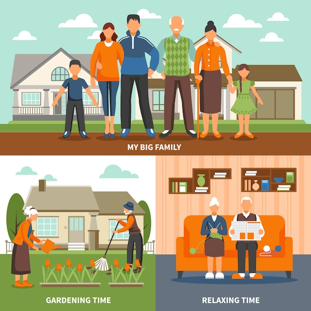 Senior people activities composition Free Vector