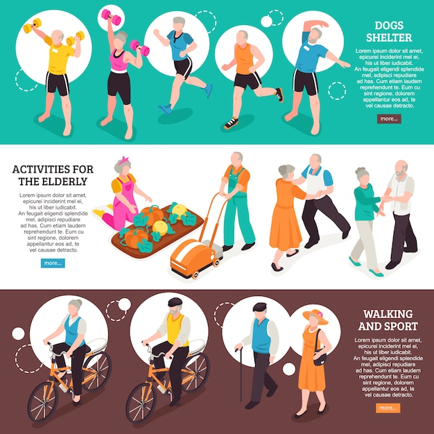 Senior people horizontal banners set with walking and sport symbols isometric isolated Free Vector
