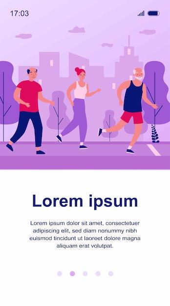 Senior people jogging in city park. old men and women running marathon   illustration. lifestyle and sport concept for banner, website  or landing web page Premium Vector