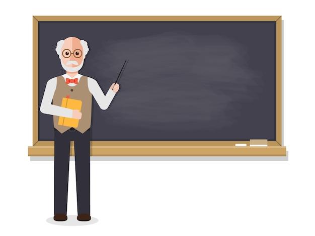 Senior teacher teaching in classroom. Premium Vector