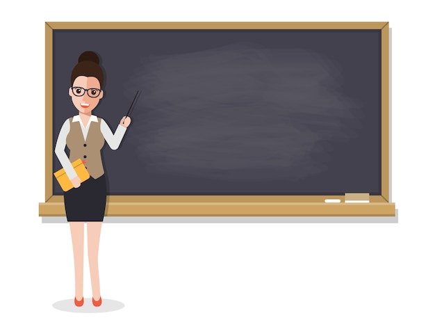 Senior teacher teaching student in classroom. Premium Vector
