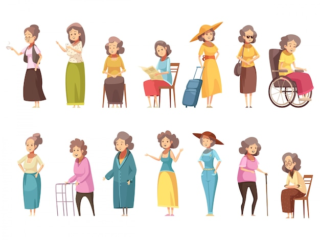 Senior woman disable old citizens with walking cane retro cartoon icons 2 banners set isolated vector illustration Free Vector