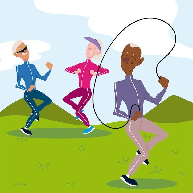アクティブな高齢者、運動を練習している老夫婦と縄跳びのイラストと老人 Premiumベクター