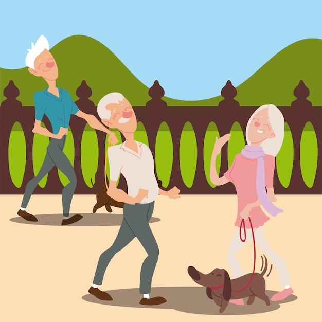 高齢者アクティブ、犬と老人のカップルのウォーキングイラスト Premiumベクター