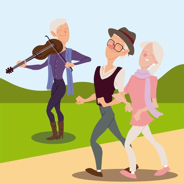 高齢者アクティブ、幸せな老人がバイオリンを弾くと老夫婦の歩行イラスト Premiumベクター