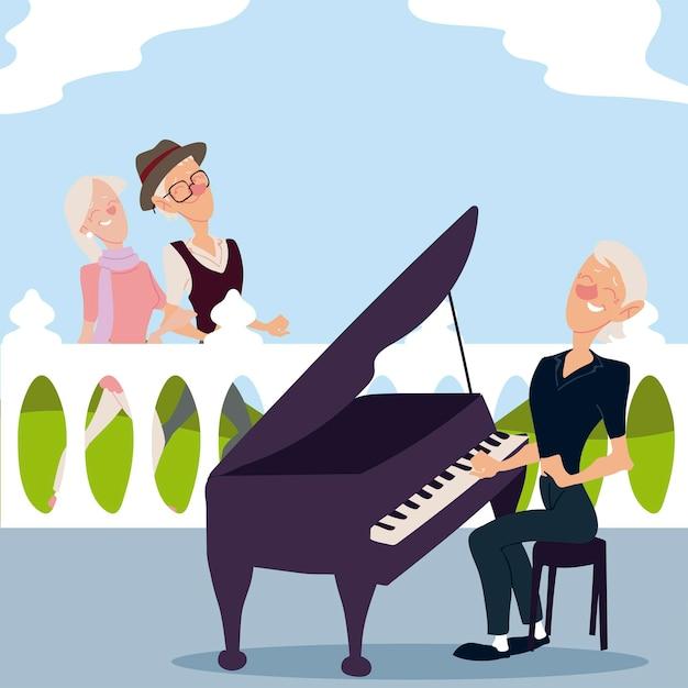 アクティブな高齢者、老夫婦の散歩、ピアノのイラストを演奏する高齢の女性 Premiumベクター