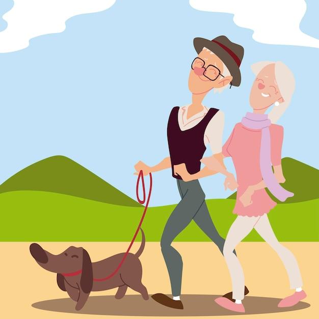 公園のイラストで犬と一緒に歩く高齢者のアクティブな老夫婦 Premiumベクター
