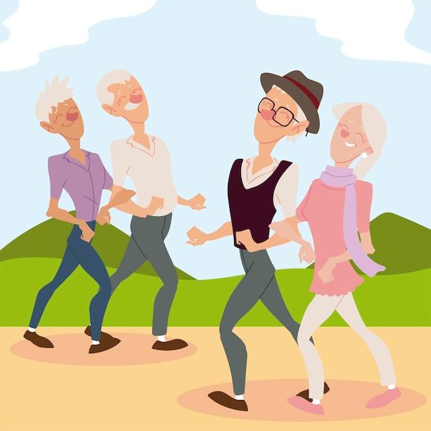 公園のイラストを歩いている高齢者のアクティブな老夫婦 Premiumベクター
