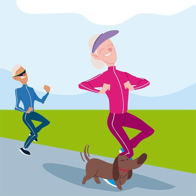 アクティブな高齢者、老人と女性が犬のキャラクターのイラストでジョギング Premiumベクター