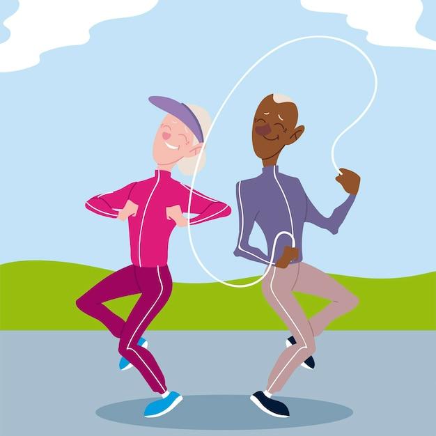 アクティブな高齢者、運動屋外イラストを練習している老人と女性 Premiumベクター
