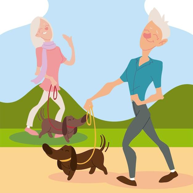 アクティブな高齢者、犬と一緒に歩く老人と女性のイラスト Premiumベクター
