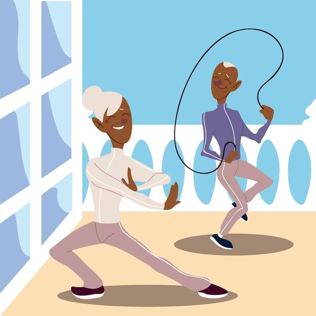 アクティブな高齢者、縄跳びを練習している老人とヨガのイラストを練習している成熟した女性 Premiumベクター