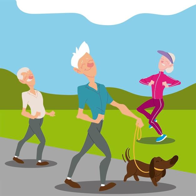 アクティブな高齢者、犬と一緒に歩く老人と年配の女性のジョギングキャラクターイラスト Premiumベクター