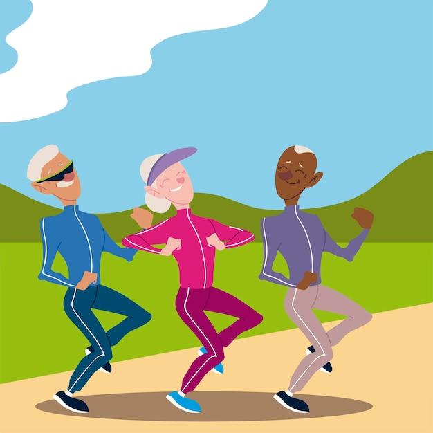 アクティブな高齢者、公園のイラストでジョギング高齢者 Premiumベクター