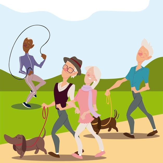 犬と一緒に歩く高齢者、高齢者、縄跳びのイラストと成熟した男 Premiumベクター