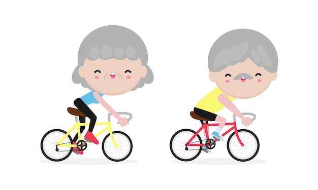 Пожилые люди катаются на велосипеде, счастливые пенсионеры. здоровый образ жизни. Premium векторы
