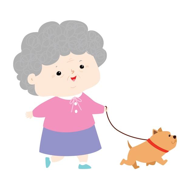 犬のイラストを歩いてセノアール女性 Premiumベクター