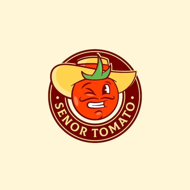 Сеньор помидор абстрактные векторные знак, символ или шаблон логотипа Бесплатные векторы