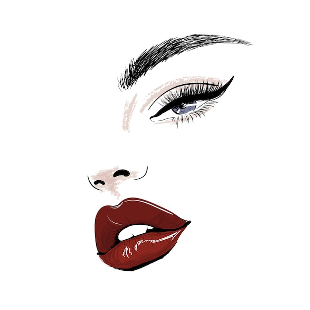 Sensual face with red juicy lips and eye art Premium Vector
