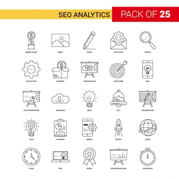 Seoの分析ブラックラインのアイコン -  25ビジネス概要のアイコンセット 無料ベクター