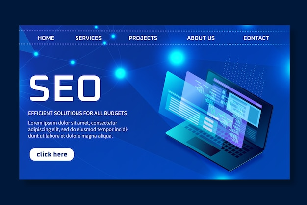 Seo ad landing page template Free Vector