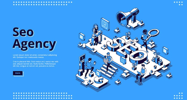 Seo agency banner. service for promotion and advertising company in social media and web. Free Vector