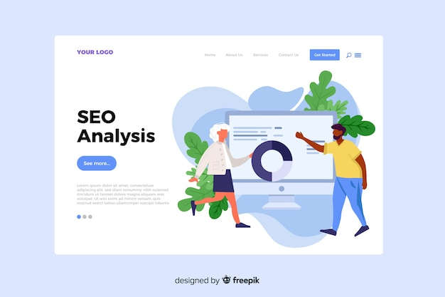 Seo analysis concept for landing page Free Vector