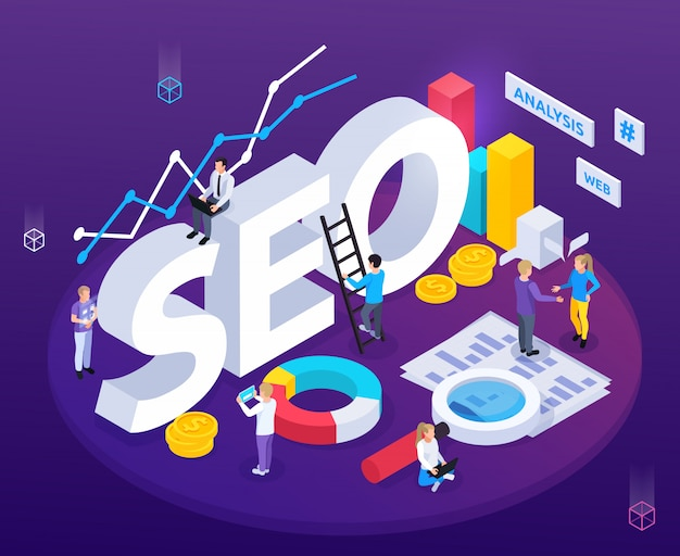 Seo analysis isometric composition with web optimization symbols Free Vector