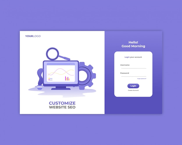 Seo analysis login page template Premium Vector