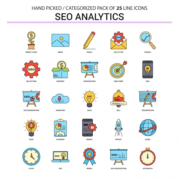 Seo analytics flat line icon set Premium Vector