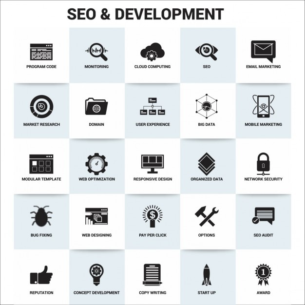 Seo and development, icons Free Vector