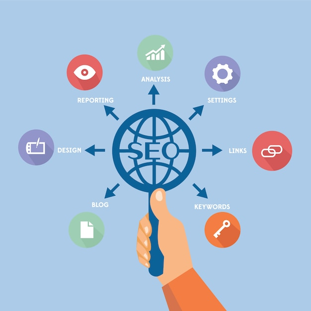 Seo background design Free Vector