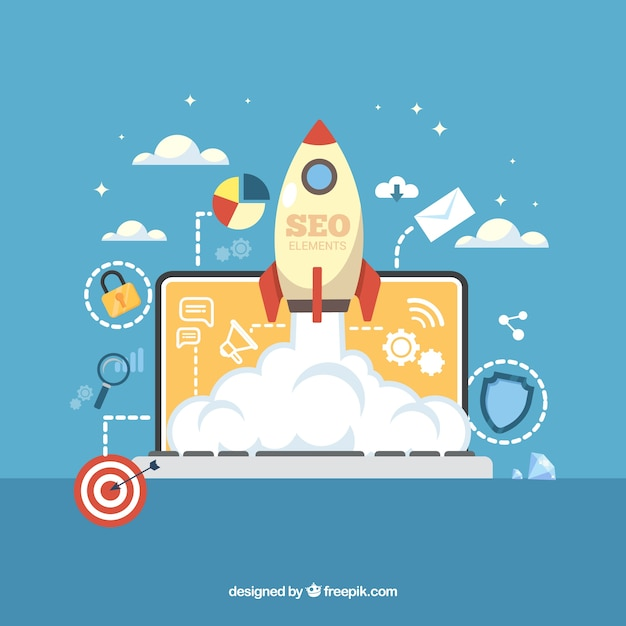 Seo background in flat style Free Vector
