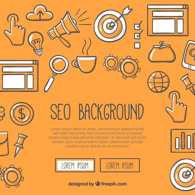 Seo background in hand drawn style Free Vector
