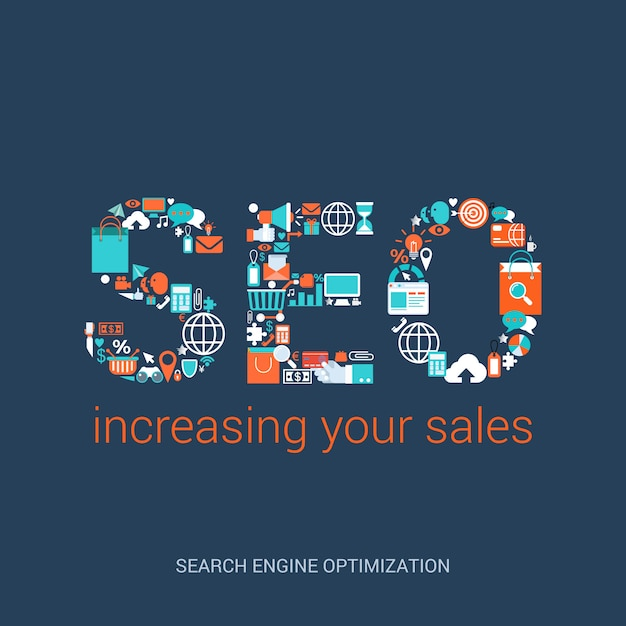 Seo concept increasing your sales flat style illustration. search engine optimization abbreviation formed by variety plenty of related icons. Premium Vector