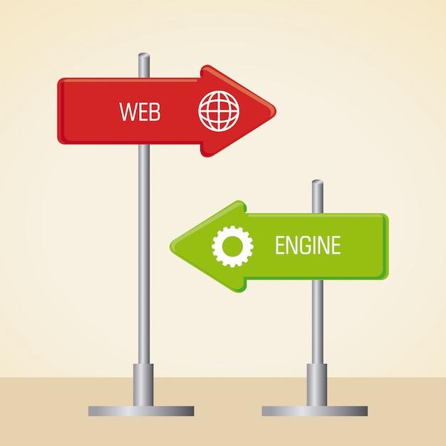 Seo design over beige background vector illustration Premium Vector