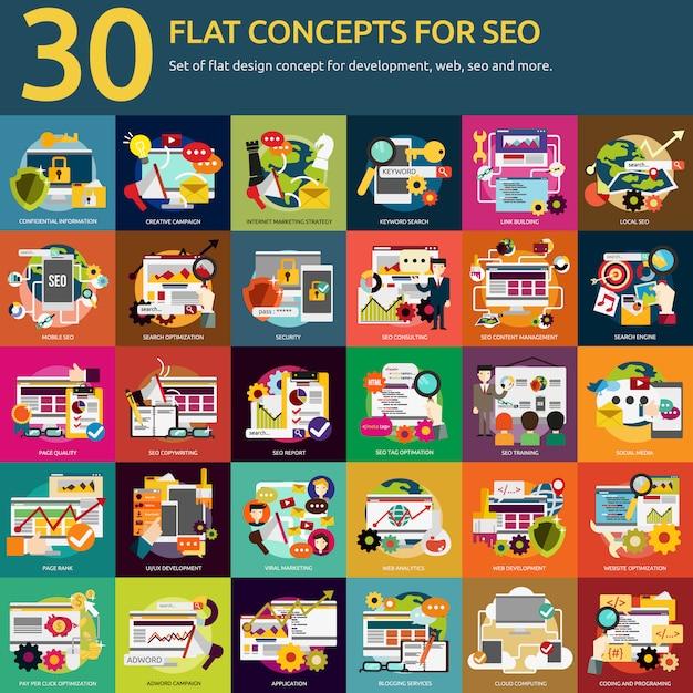 Seo designs collection Free Vector