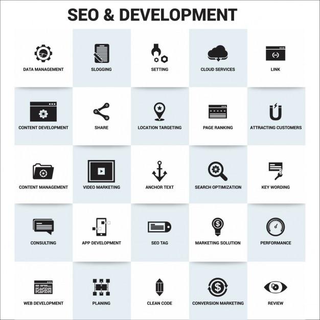 Seo development icons Free Vector