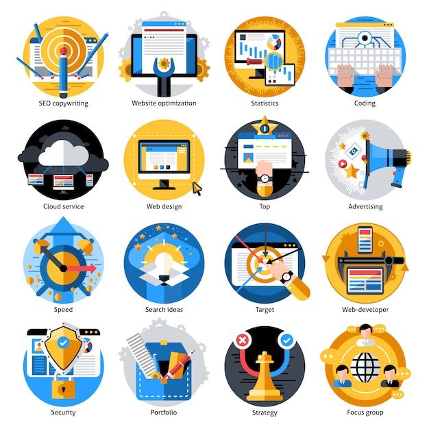 Set di icone rotonde di sviluppo seo Vettore gratuito