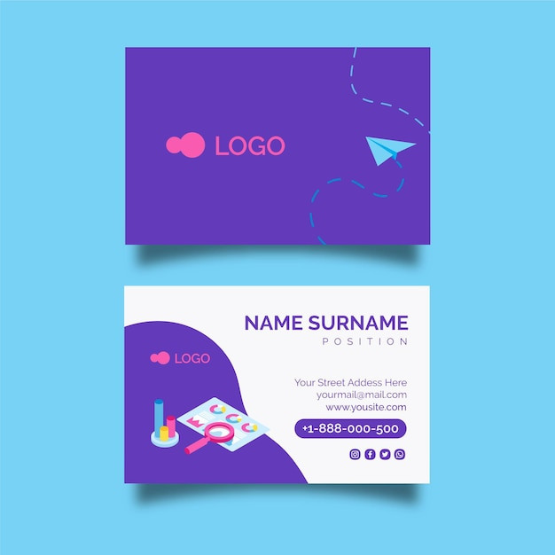 Seo double-sided horizontal business card template Premium Vector