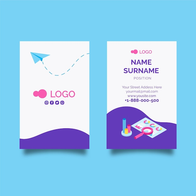 Seo double-sided vertical business card template Free Vector