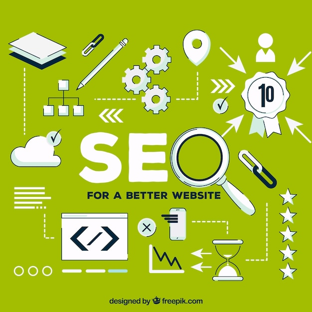 Seo elements background in flat style Free Vector